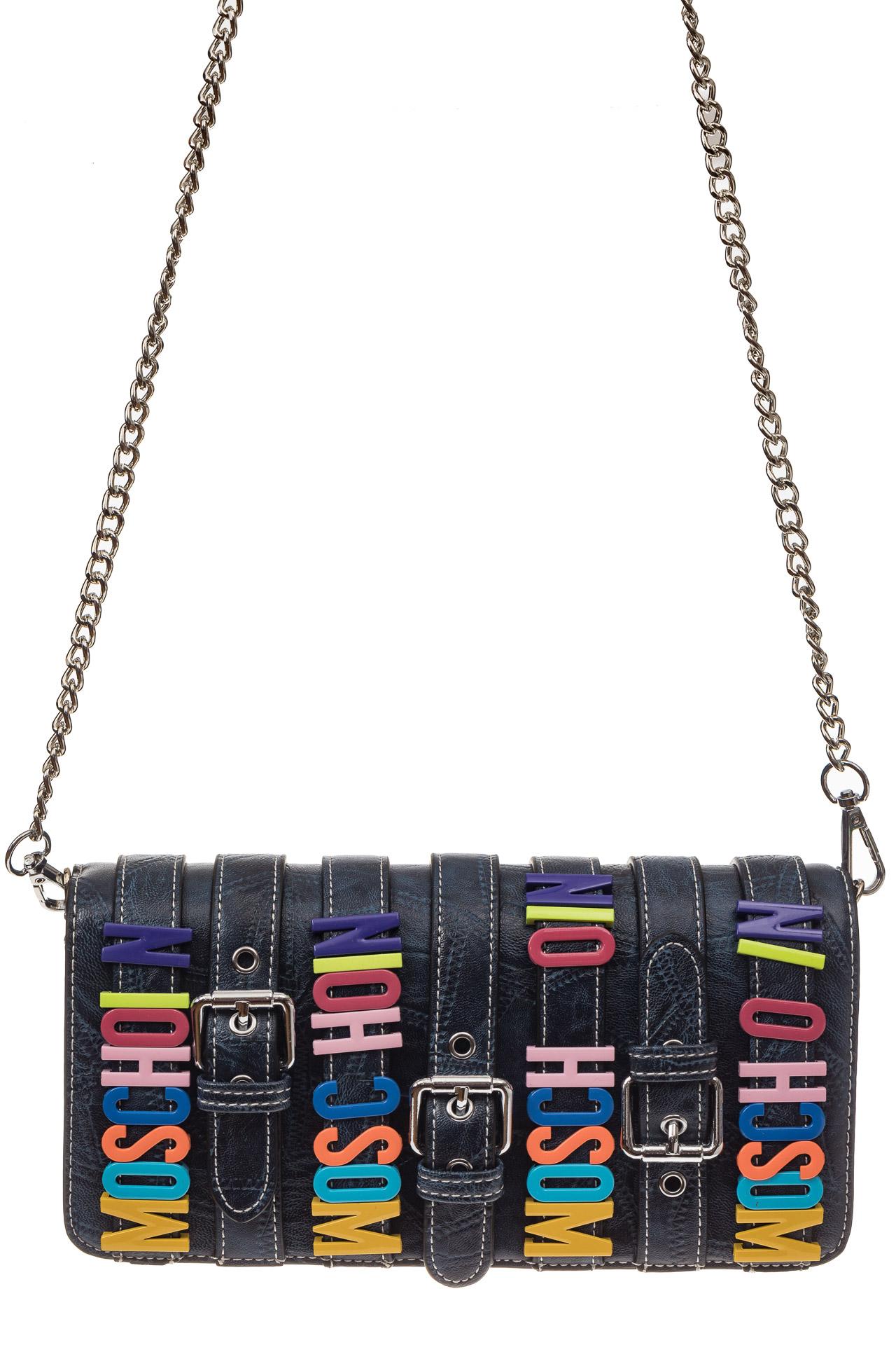 На фото 2 - Модная сумка багет из искусственной кожи, цвет синий