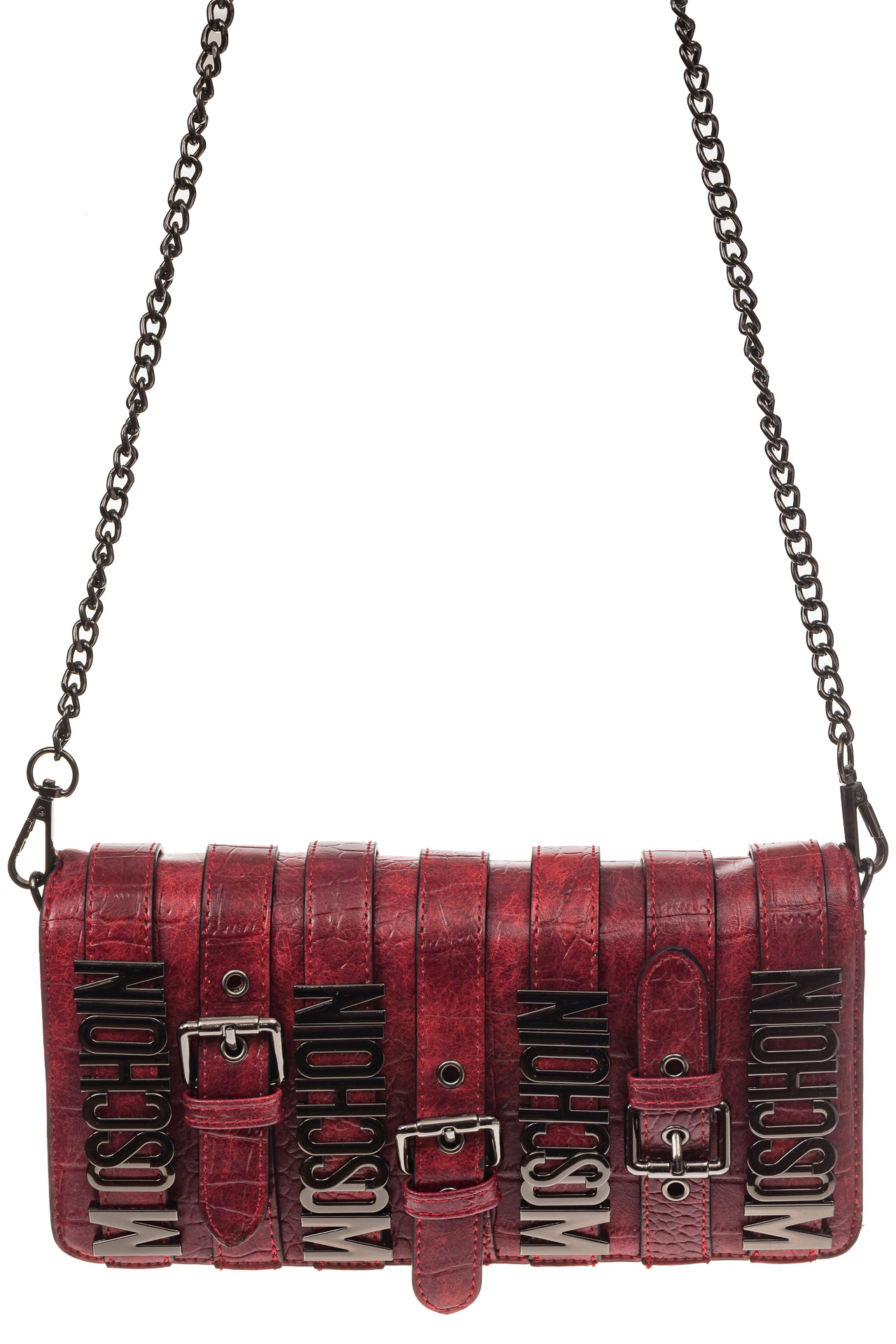 На фото 2 - Модная сумка багет из искусственной кожи, цвет красный