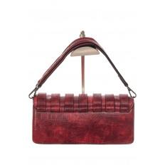 На фото 3 - Модная сумка багет из искусственной кожи, цвет красный