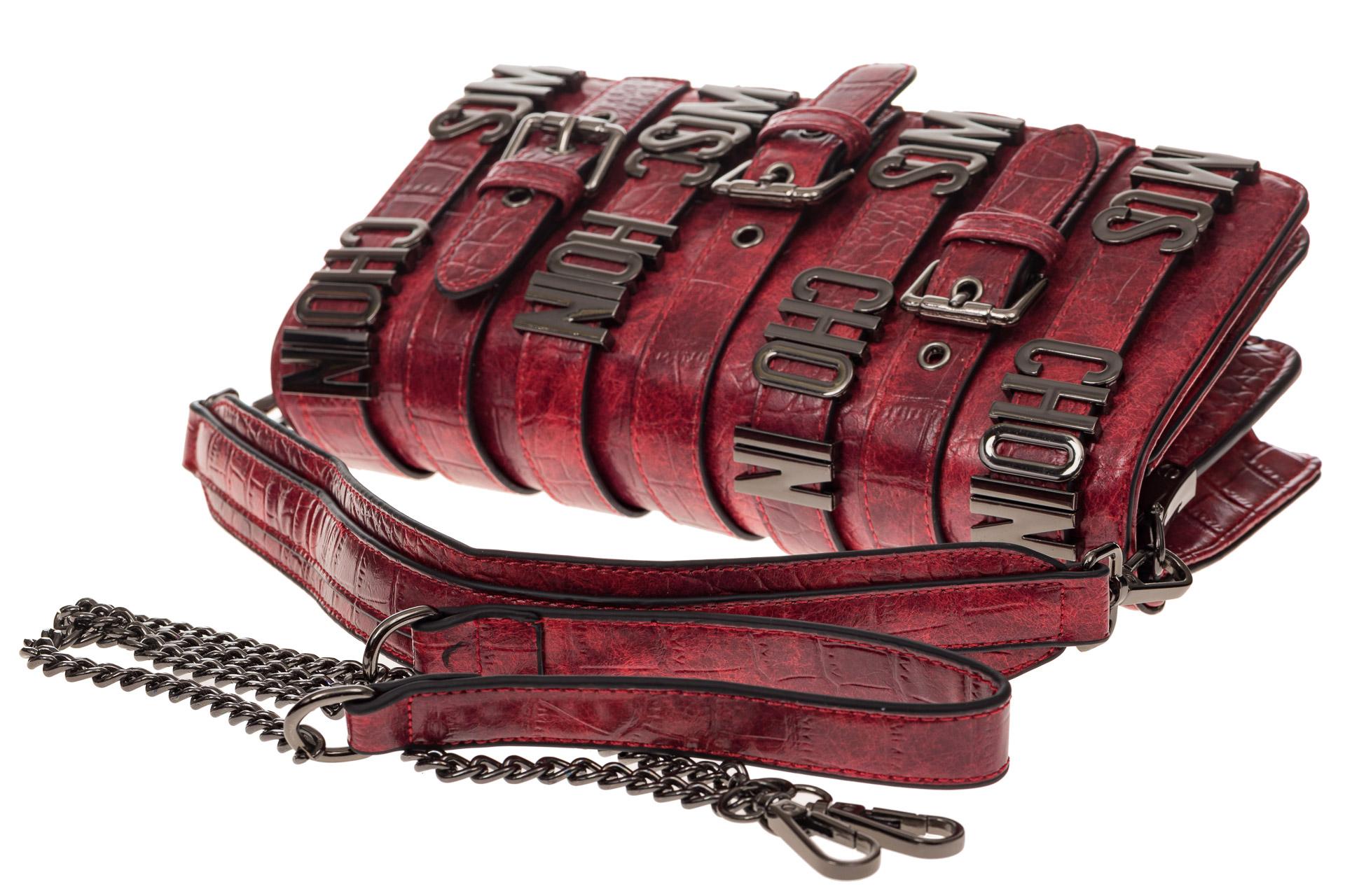 На фото 4 - Модная сумка багет из искусственной кожи, цвет красный