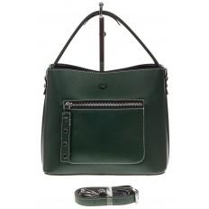 На фото 2 - Женская сумка из натуральной кожи, цвет зеленый