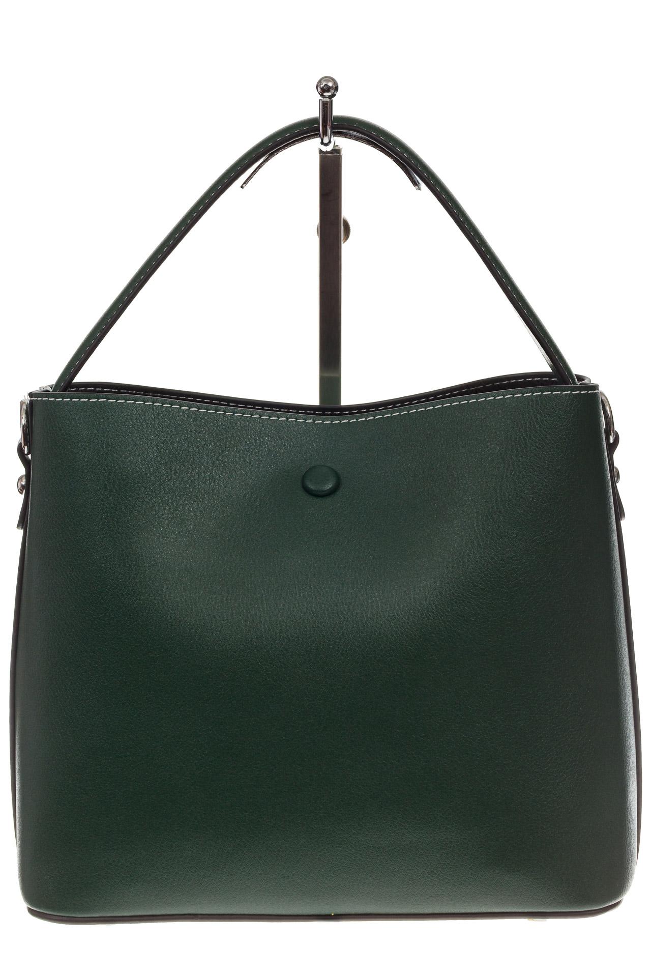 На фото 3 - Женская сумка из натуральной кожи, цвет зеленый