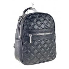 На фото 1 - Женская стёганая сумка-рюкзак из искусственной кожи, цвет чёрный