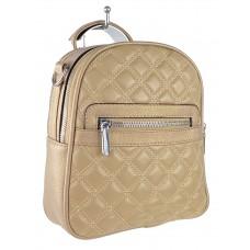 На фото 1 - Женская стёганая сумка-рюкзак из искусственной кожи, цвет бежевый