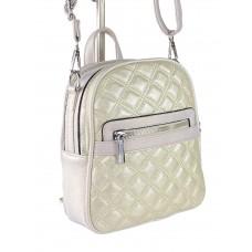 На фото 1 - Женская стёганая сумка-рюкзак из искусственной кожи, цвет жемчуга