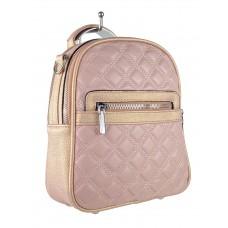 На фото 1 - Женская стёганая сумка-рюкзак из искусственной кожи, цвет розовый