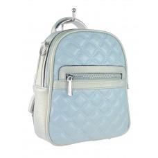 На фото 1 - Женская стёганая сумка-рюкзак из искусственной кожи, цвет светло-бирюзовый