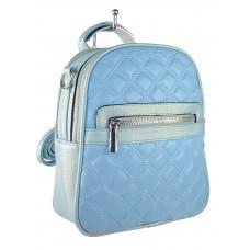 На фото 1 - Женская стёганая сумка-рюкзак из искусственной кожи, цвет голубой