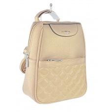 На фото 1 - Женский рюкзачок-трансформер из искусственной кожи со стёжкой, цвет бронзовый