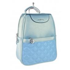 На фото 1 - Женский рюкзачок-трансформер из искусственной кожи со стёжкой, цвет голубой с перламутром