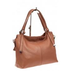 На фото 1 - Женская сумка тоут из натуральной кожи, цвет пудра