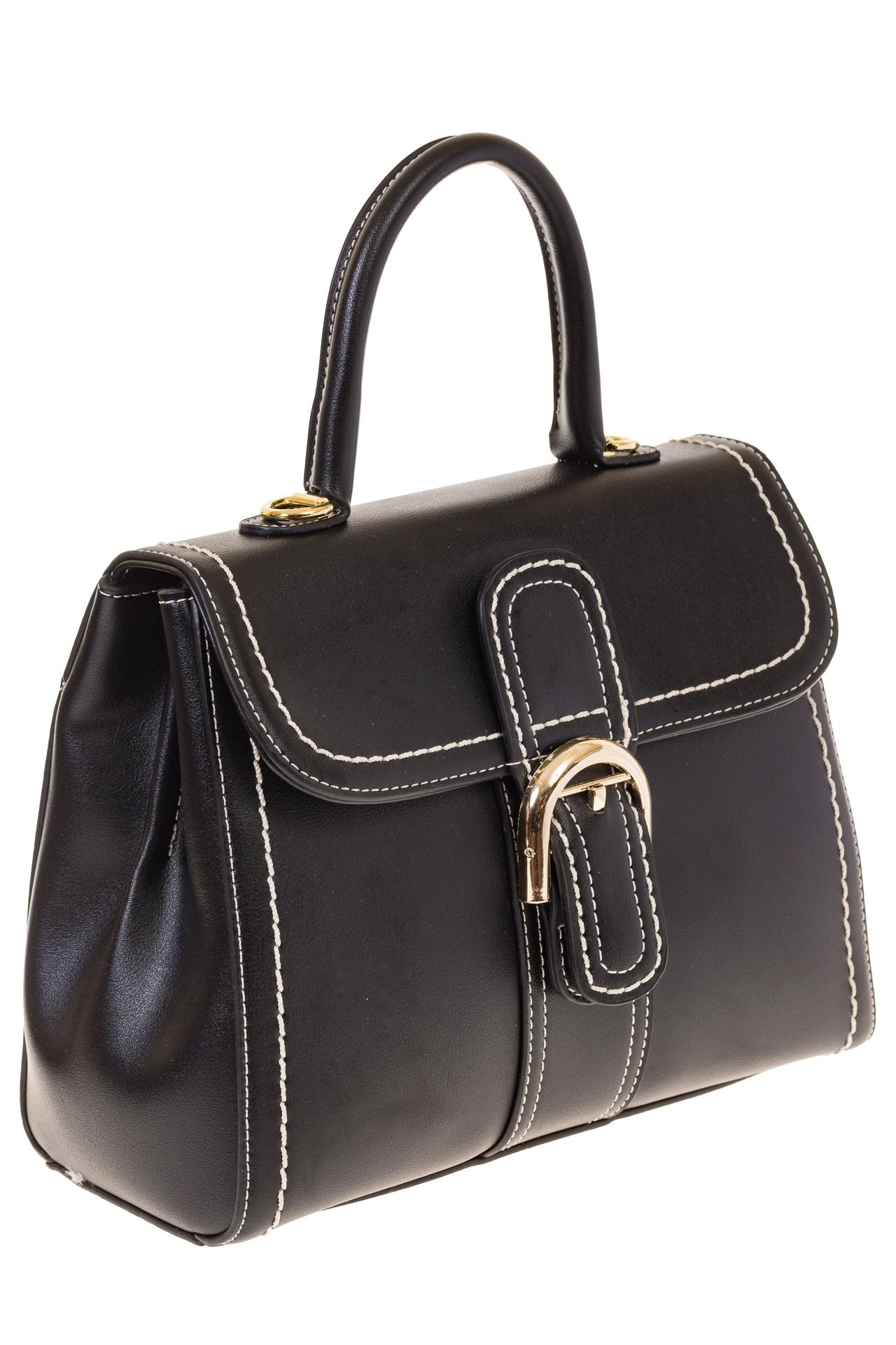 На фото 1 - Женская сумка-портфель черного цвета 606-6190AP