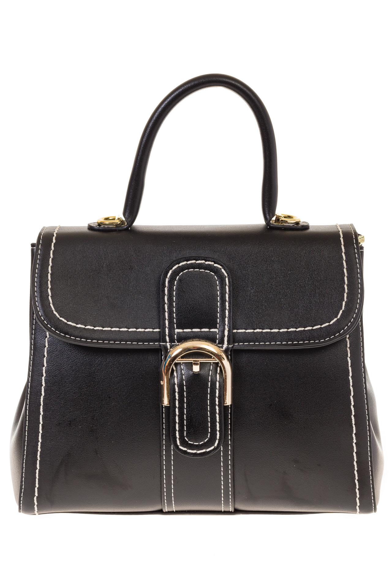 На фото 2 - Женская сумка-портфель черного цвета 606-6190AP