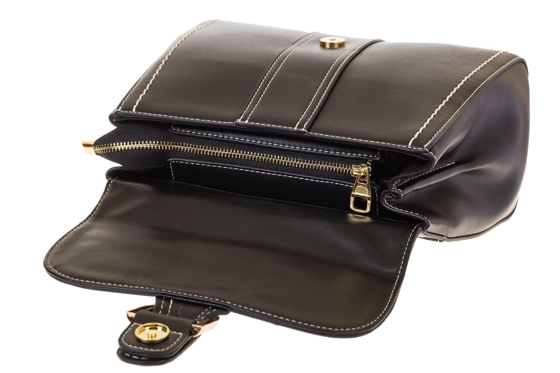 На фото 4 - Женская сумка-портфель черного цвета 606-6190AP
