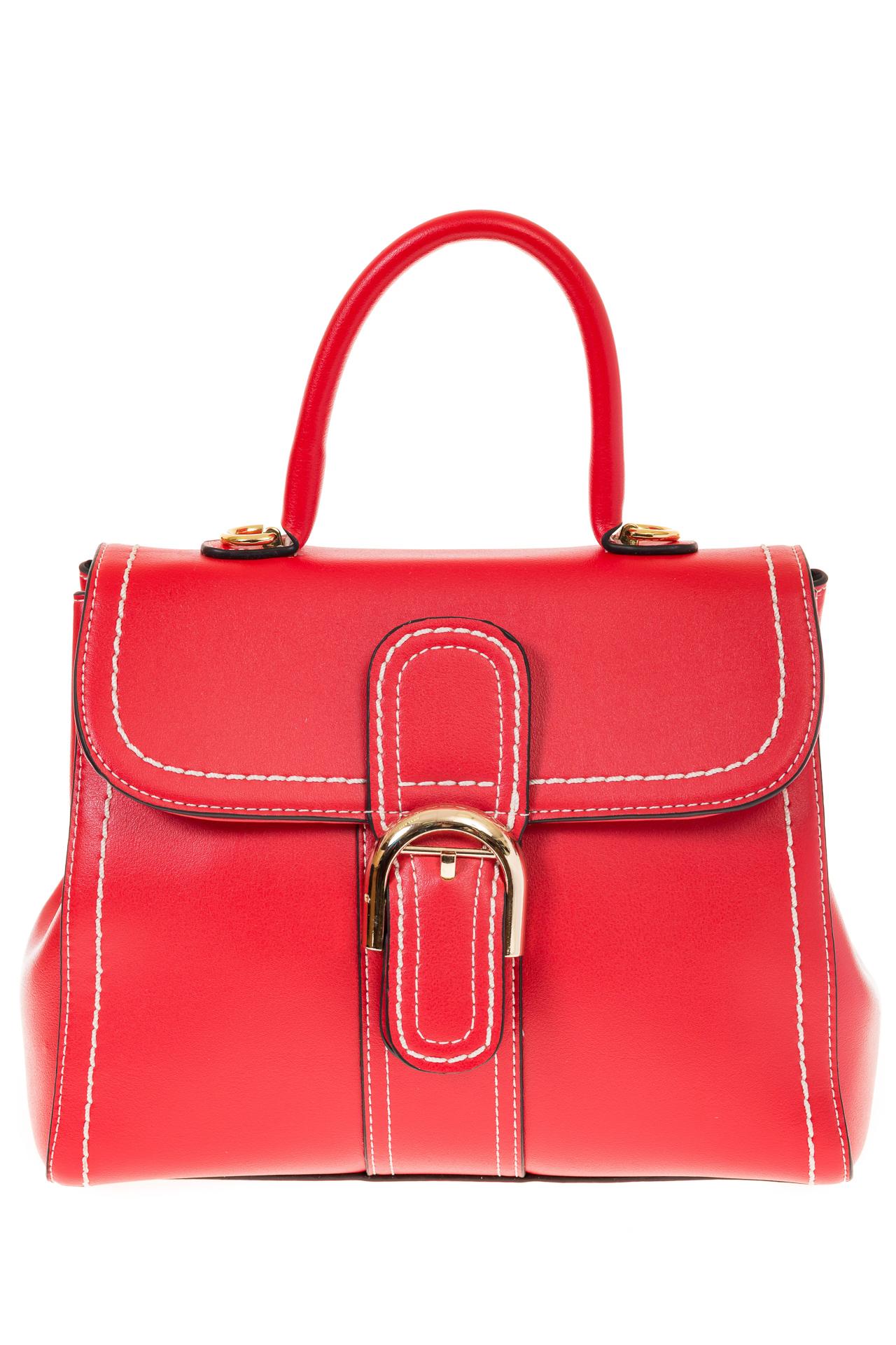 На фото 2 - Женская сумка-портфель красного цвета 606-6190AP