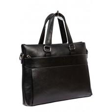На фото 1 - Сумка-портфель для документов и ноутбука из экокожи, цвет чёрный