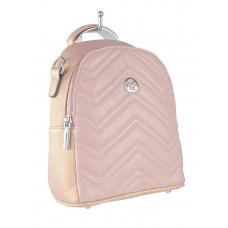 На фото 1 - Женский стёганый рюкзачок-трансформер из экокожи, цвет розовый с перламутром