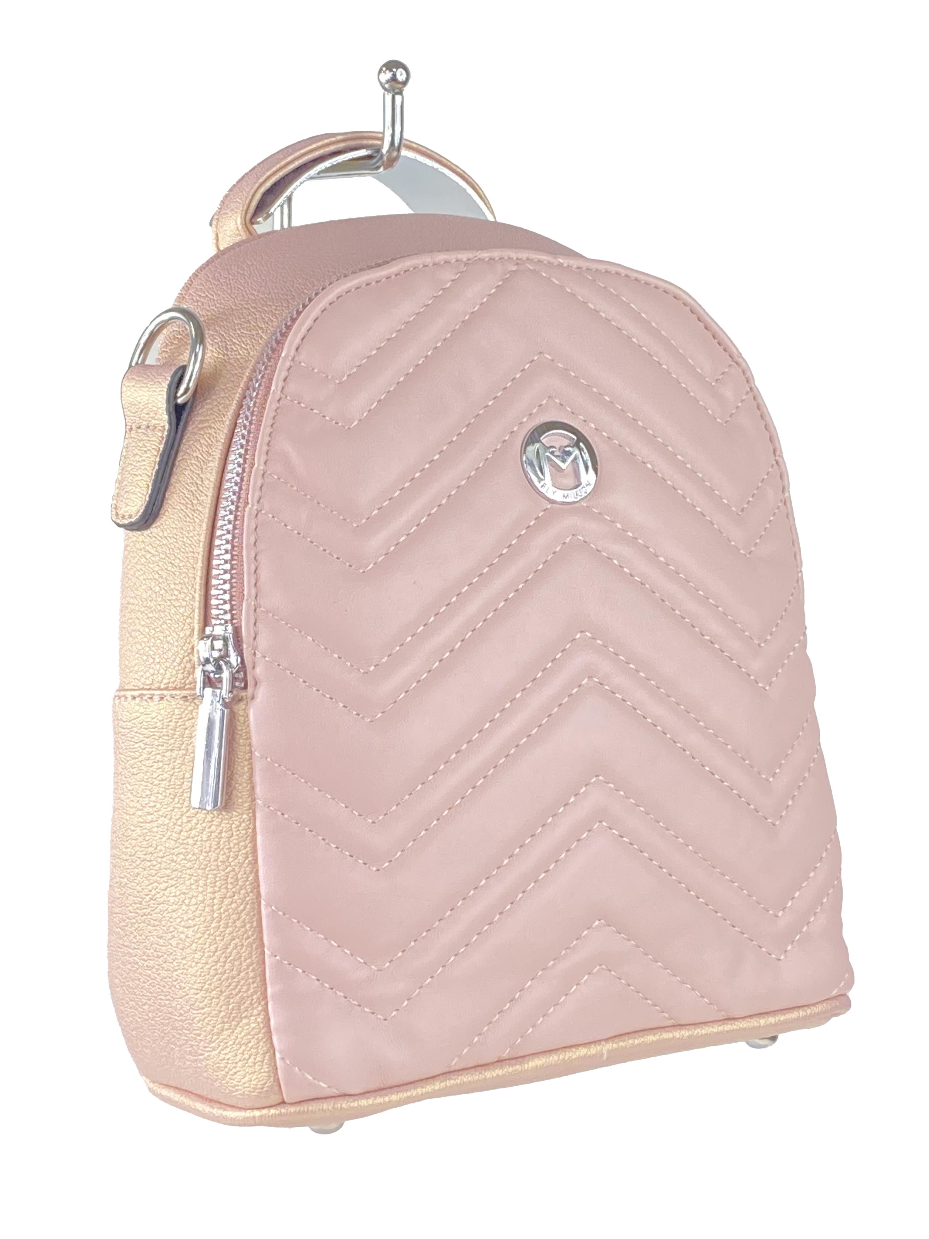 Женский стёганый рюкзачок-трансформер из экокожи, цвет розовый с перламутром