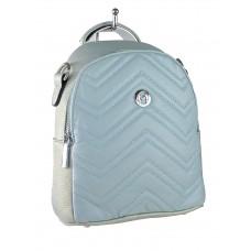 На фото 1 - Женский стёганый рюкзачок-трансформер из экокожи, цвет бледно-бирюзовый с перламутром
