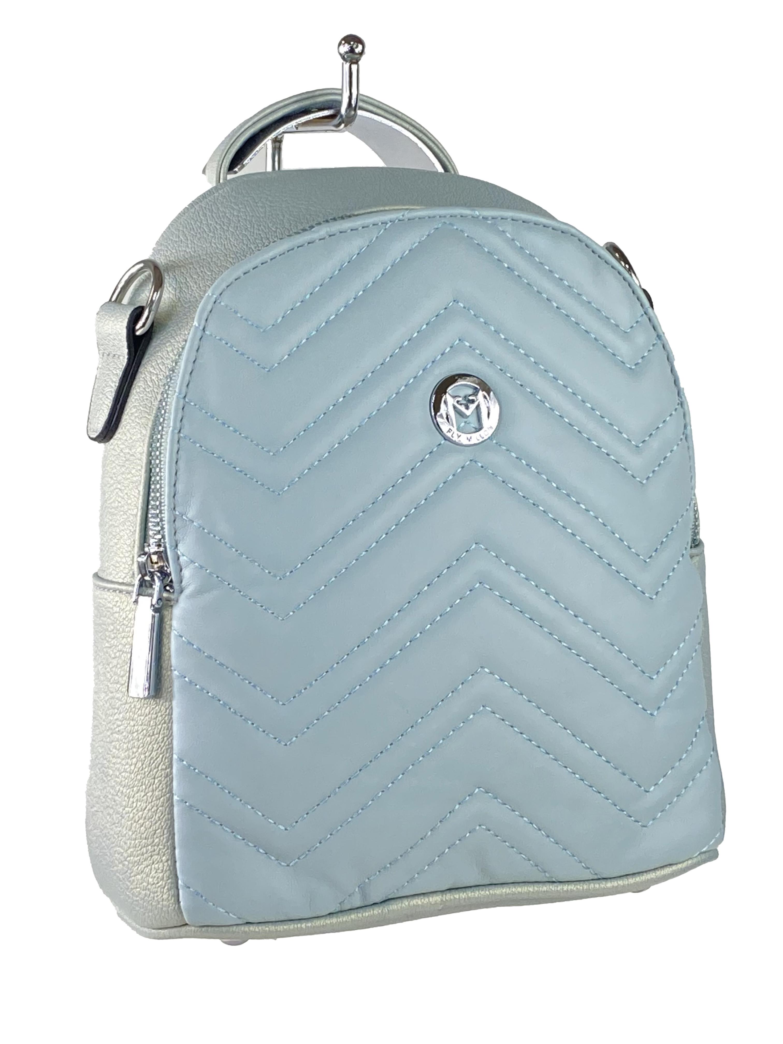 Женский стёганый рюкзачок-трансформер из экокожи, цвет бледно-бирюзовый с перламутром