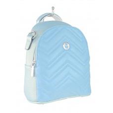 На фото 1 - Женский стёганый рюкзачок-трансформер из экокожи, цвет голубой с перламутром