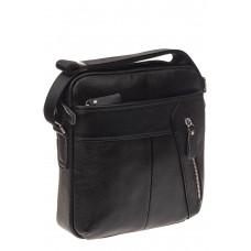 На фото 1 - Мужская сумка с диагональным карманом из натуральной кожи