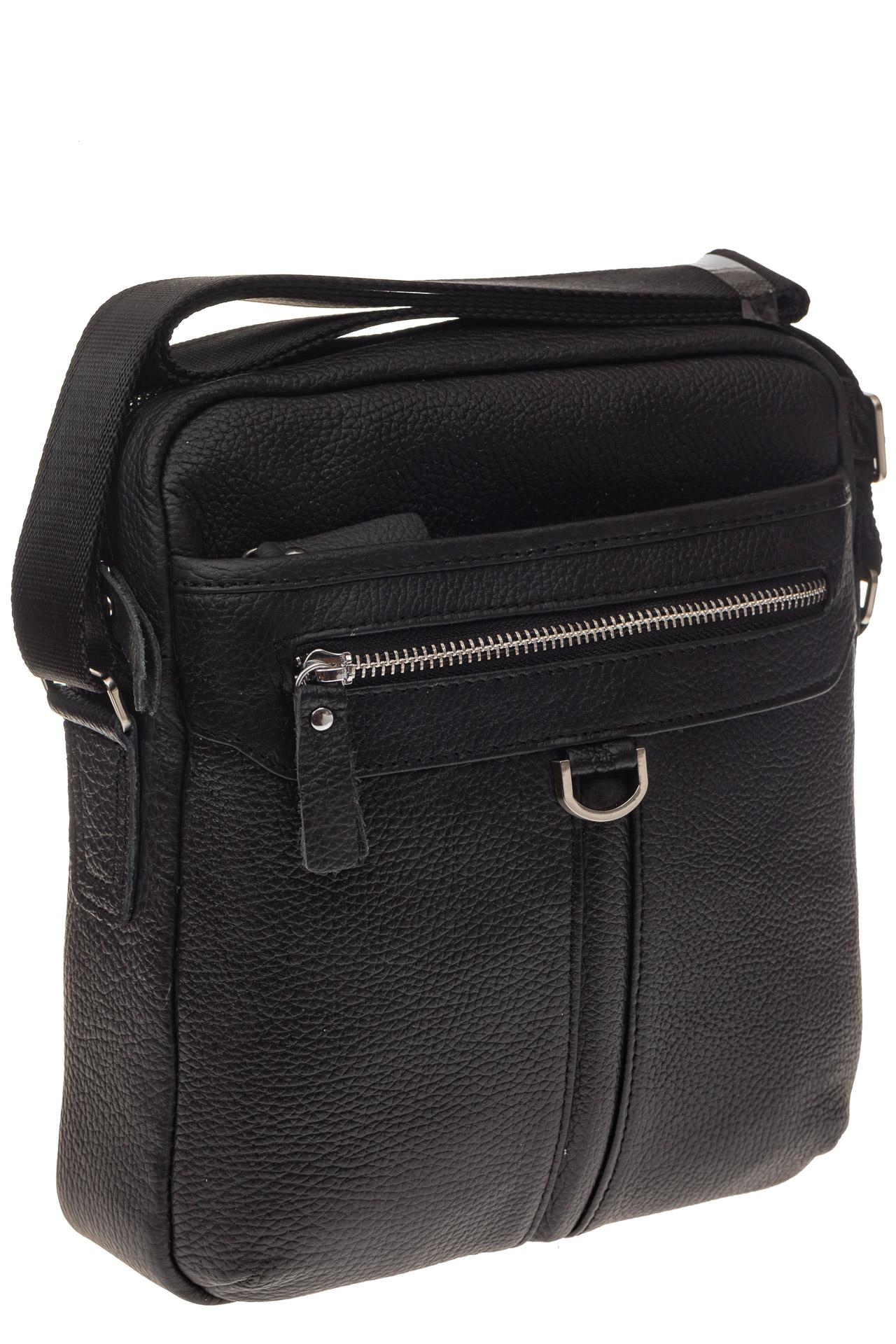 На фото 1 - Квадратная мужская сумка из натуральной кожи