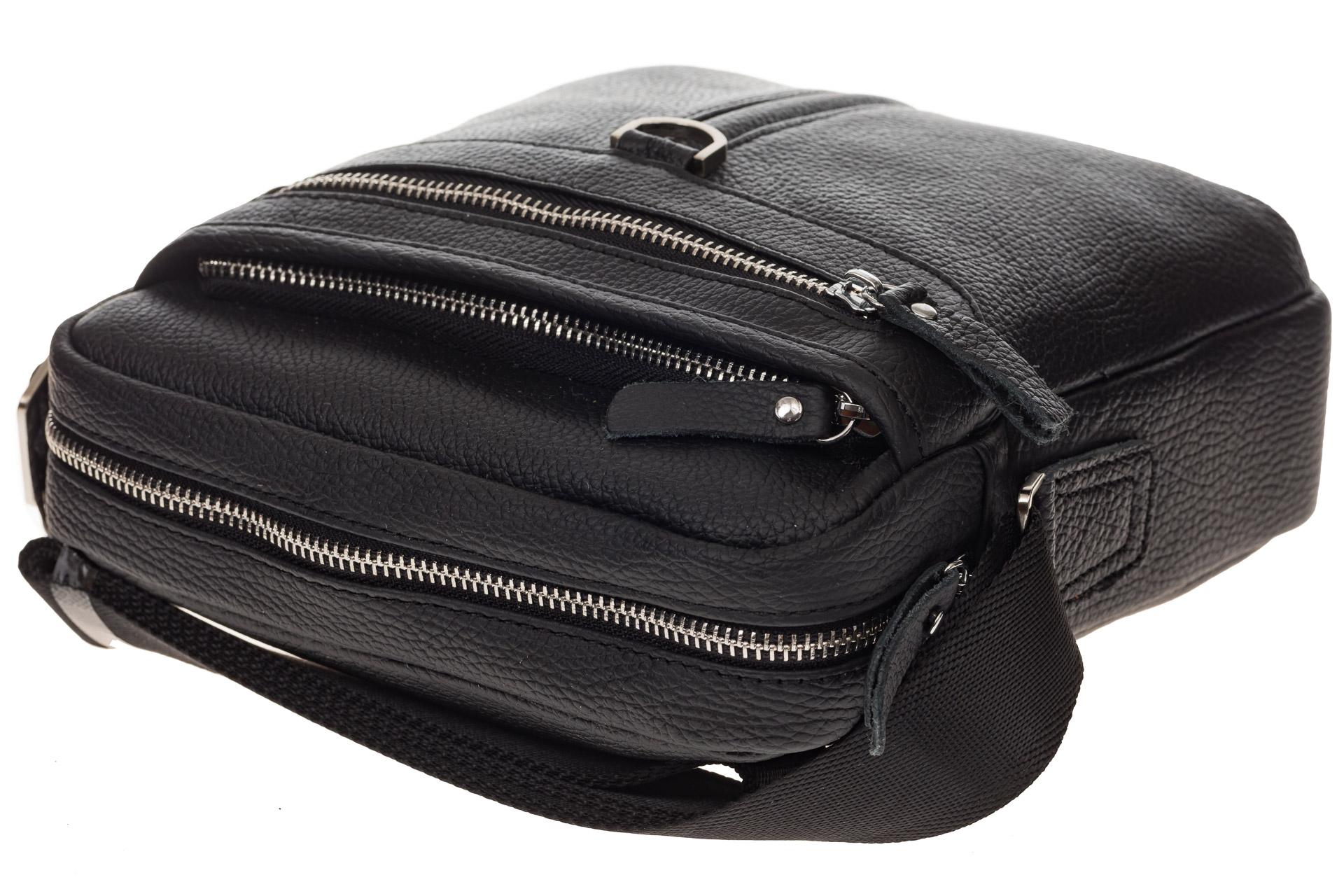 На фото 4 - Квадратная мужская сумка из натуральной кожи