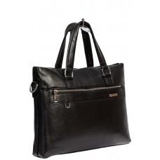 На фото 1 - Деловая сумка с карманом для ноутбука и ключницей из искусственной кожи, чёрная
