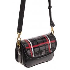На фото 1 - Миниатюрная сумочка из искусственной кожи, цвет черный