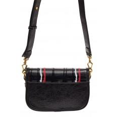На фото 2 - Миниатюрная сумочка из искусственной кожи, цвет черный
