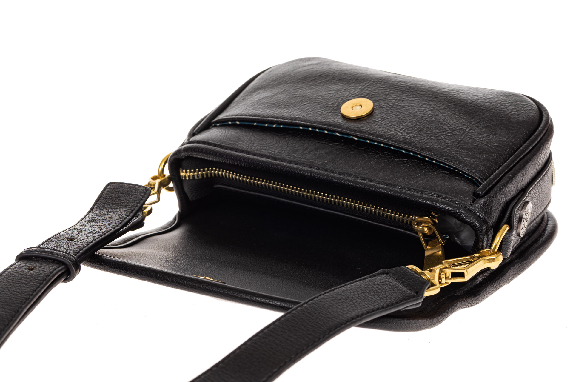 На фото 3 - Миниатюрная сумочка из искусственной кожи, цвет черный