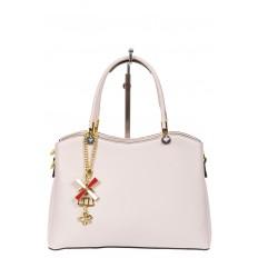 На фото 2 - Женская сумка тоут из кожзама с подвеской, цвет серо-белый