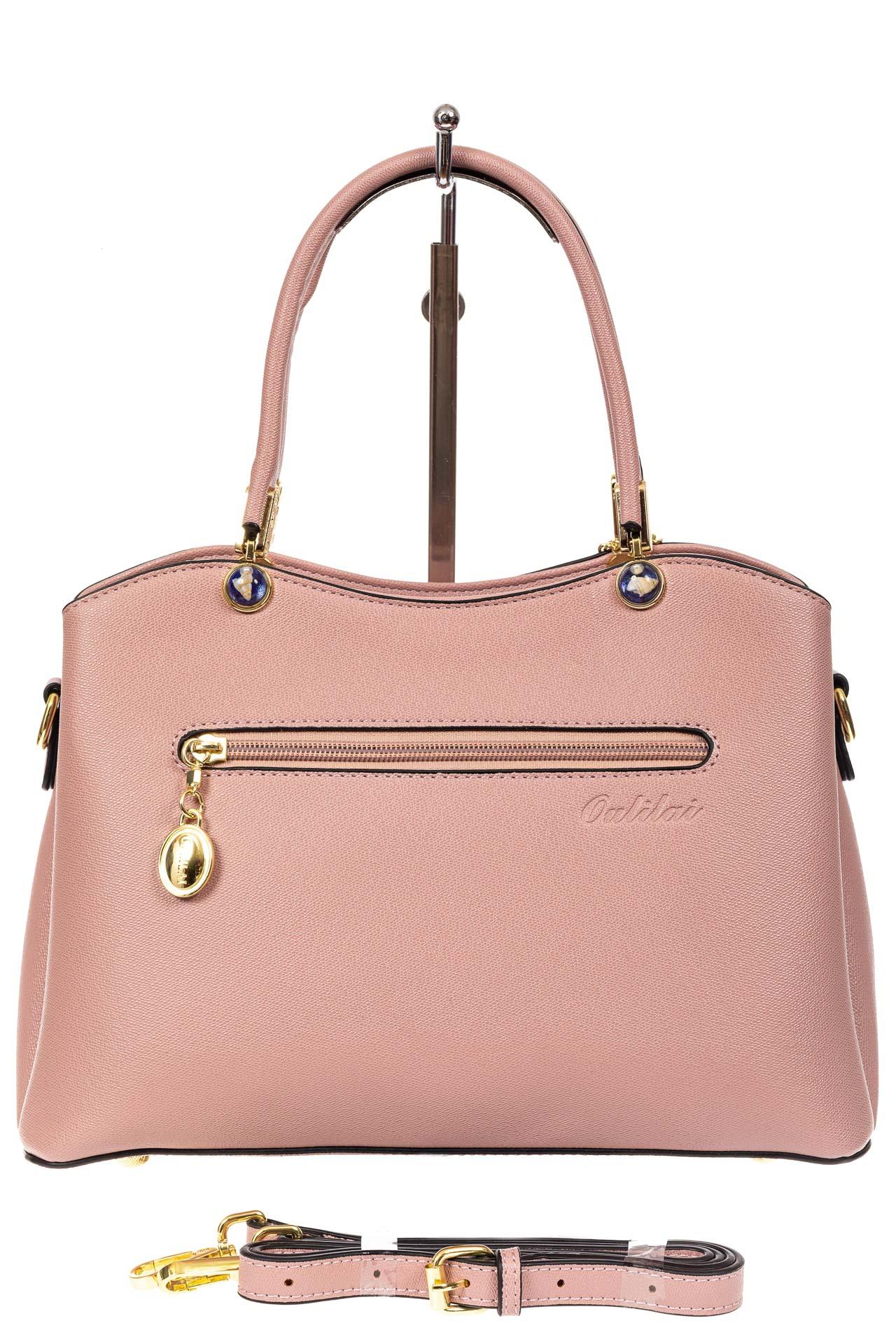 На фото 3 - Женская сумка тоут из кожзама с подвеской, цвет розовый