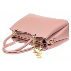 На фото 4 - Женская сумка тоут из кожзама с подвеской, цвет розовый