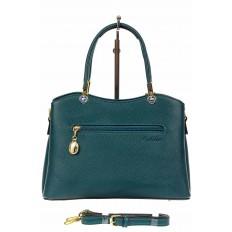 На фото 3 - Женская сумка тоут из кожзама с подвеской, цвет сине-зеленый
