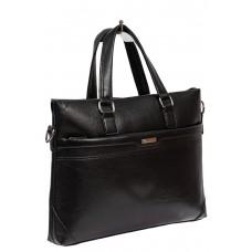 На фото 1 - Сумка-портфель для документов и ноутбука из искусственной кожи, цвет чёрный