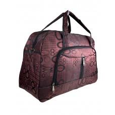 На фото 1 - Женская дорожная сумка из текстиля с принтом, цвет бордовый