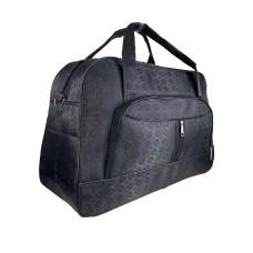 На фото 1 - Женская дорожная сумка из текстиля с принтом, цвет черный