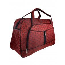 На фото 1 - Женская дорожная сумка из текстиля с принтом, цвет красный