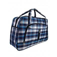 На фото 1 - Женская дорожная сумка из текстиля в клетку, оттенки синего с белым