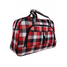 На фото 1 - Женская дорожная сумка из текстиля в клетку, оттенки красного с чёрным и белым