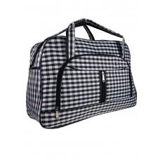 На фото 1 - Женская дорожная сумка из текстиля в чёрно-белую клетку