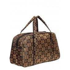 На фото 1 - Багажная текстильная сумка с принтом, цвет коричневый