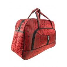 На фото 1 - Дорожная текстильная сумка с принтом, цвет красный