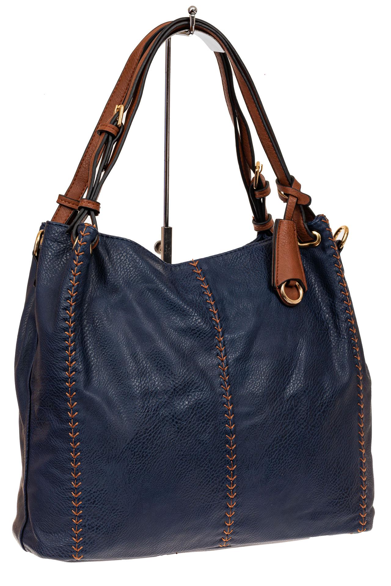 На фото 1 - Большая женская сумка из искусственной кожи, цвет синий