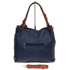 На фото 2 - Большая женская сумка из искусственной кожи, цвет синий