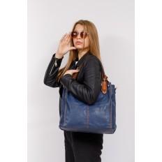 На фото 4 - Большая женская сумка из искусственной кожи, цвет синий