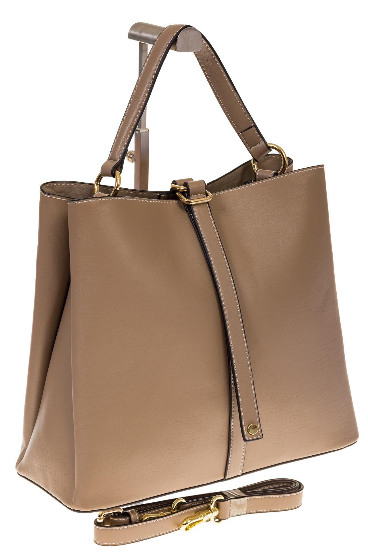 на фото Бежевая сумка из натуральной кожи на каждый день 6101AMK5