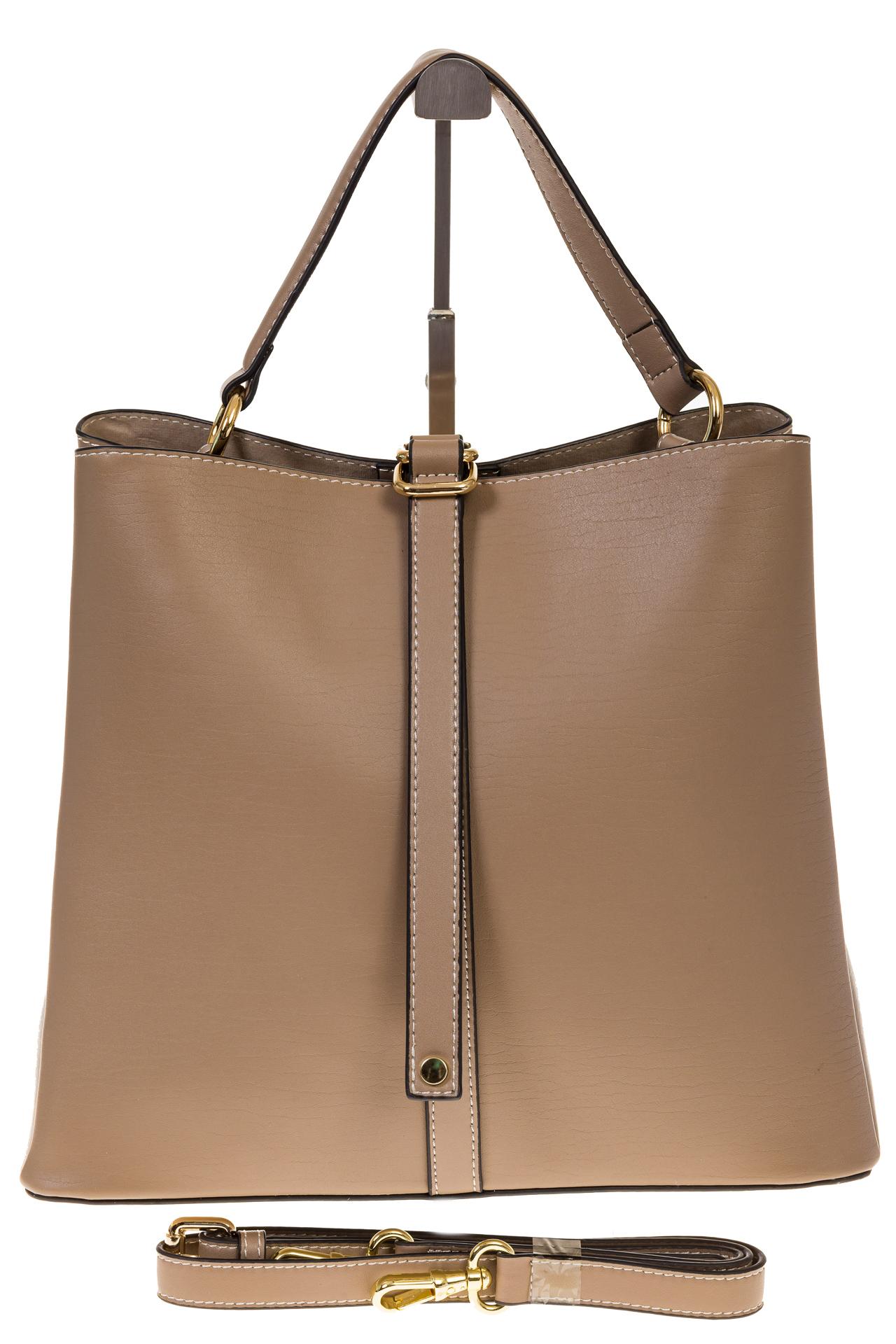 На фото 2 - Бежевая сумка из натуральной кожи на каждый день 6101AMK5